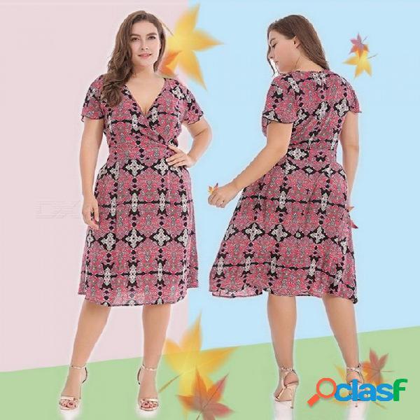 Vestido de poliéster con cuello en v y estampado floral para mujer, gran tamaño, cintura alta, longitud de la rodilla, volante, vestido de manga corta rojo / xl