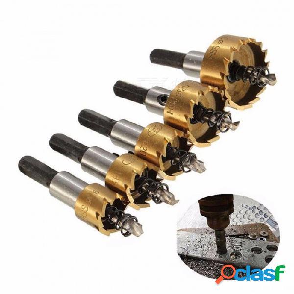 Binoax 5pcs punta de carburo hss juego de sierra de taladro, herramienta de corte de agujero de perforación de madera de metal para instalar cerraduras 16 / 18.5 / 20/25 / 30mm colorido
