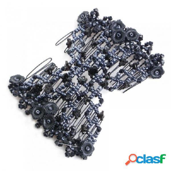 Doble moda peine del pelo perlas mágicas elasticidad clip peines elásticos del pelo clips adecuados para mujeres multi color disponible púrpura