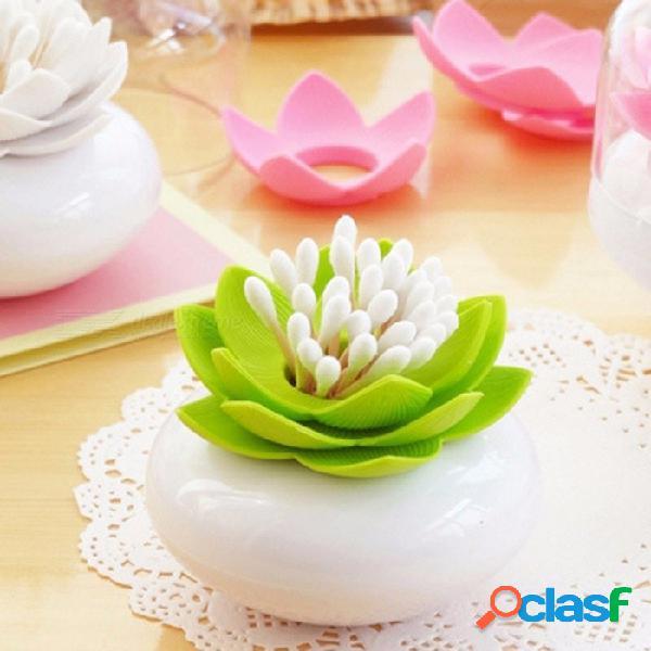 Loto trono caja de hisopo hermosa lotus palillo de palillos de algodón titular de tabla de plástico caja de almacenamiento accesorios de cocina