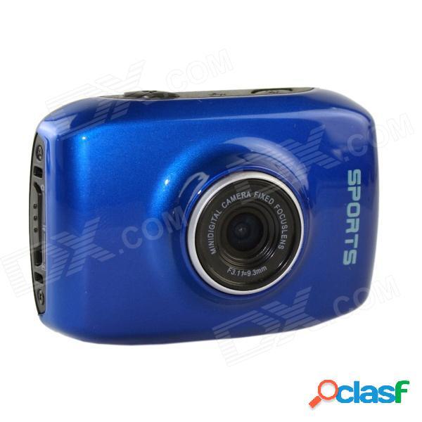 Dv123 deportes al aire libre a prueba de agua hd 2.0 tft 1.3mp cmos cámara w / tf / mini usb set - azul + negro