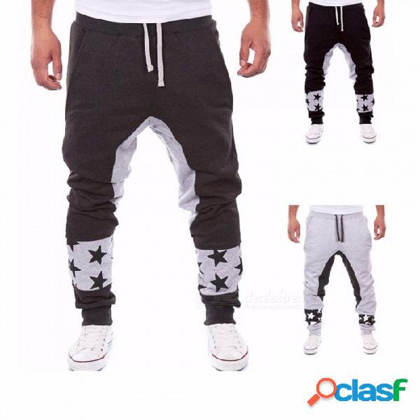 Las estrellas imprimen la moda para hombre pantalones harem al aire libre deportes casual cintura elástica algodón pantalones holgados para hombres negro / m