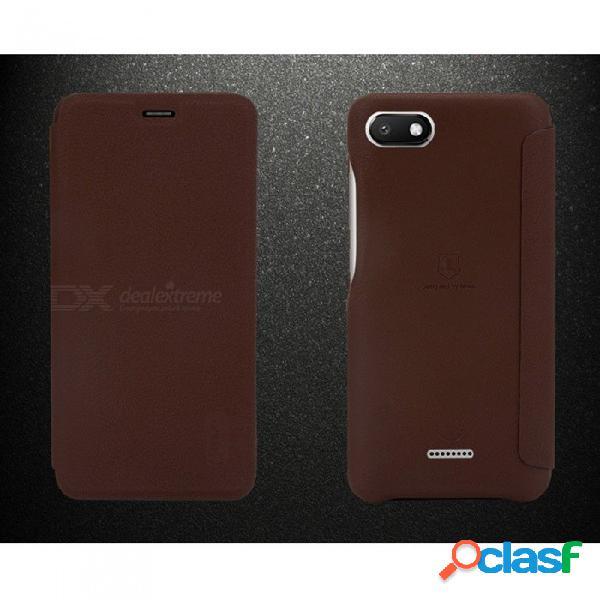 Lenuo durable, suave y suave, con tapa abatible, funda para teléfono, con ranura para tarjeta, función de bolsillo para xiaomi redmi 6a negro / cuero artificial
