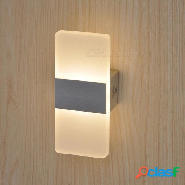 P-top 6w led lámpara de pared de acrílico dormitorio de estilo moderno lámpara de noche luz blanca cálida
