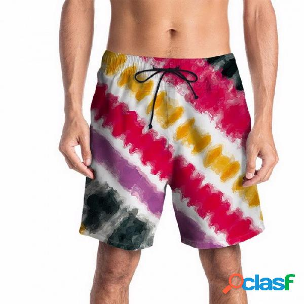 Pantalones cortos del verano de la impresión de la raya 3d del verano pantalones cortos de playa de la juventud pantalones flojos de la mitad pantalones hasta la rodilla cintura elástica roja