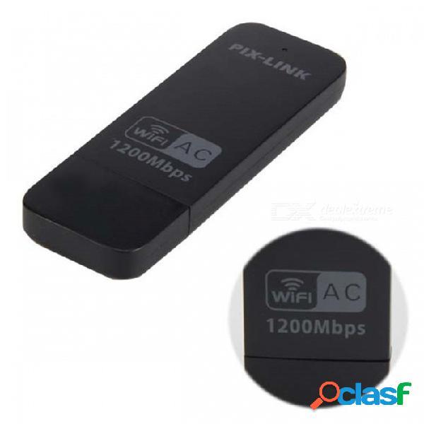 Adaptador de tarjeta de red inalámbrica inalámbrica portátil usb ac1200m wifi 802.11 b / g / n - negro
