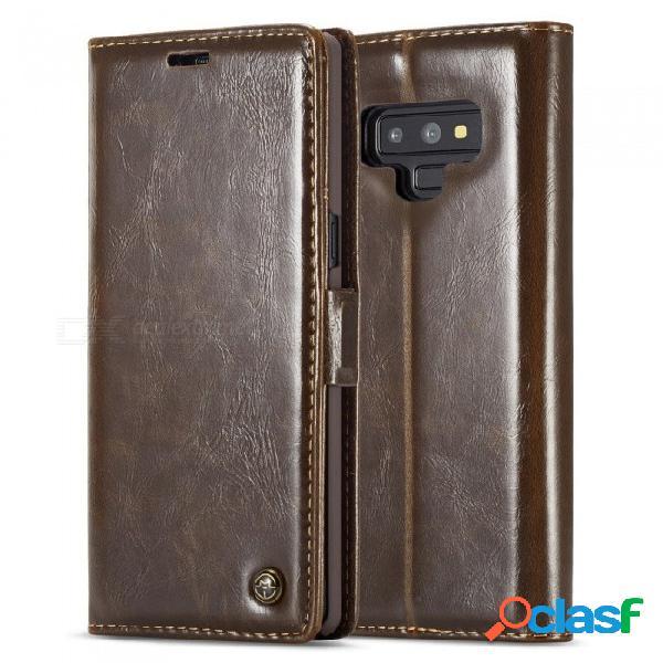 Funda magnética de cuero plegable con tapa plegable para el teléfono con función de bolsillo de la tarjeta para samsung note 9 note9