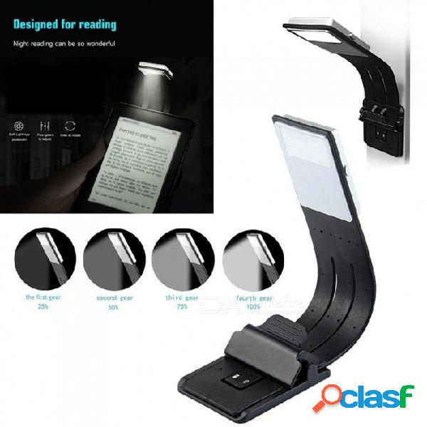 Lámpara de lectura recargable lámpara de lectura compacta lámpara de luz led con clip de luz led flexible para kindle y libro 4 modos