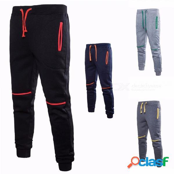 Otoño invierno pantalones deportivos casuales para hombres algodón elástico cordón cintura pantalones largos pantalones negro / m