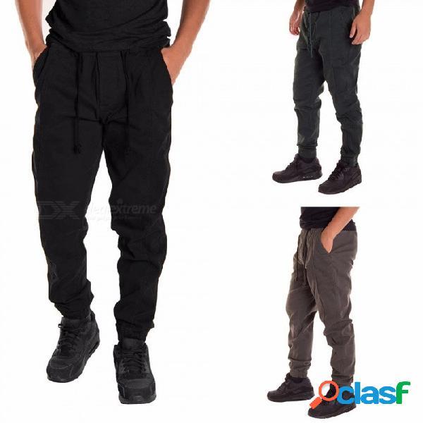 Pantalones de los hombres pantalones sueltos ocasionales elásticos de cintura cinturón de color sólido pantalones deportivos suaves con bolsillo negro / m