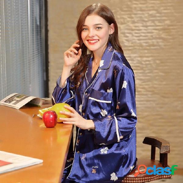 Pijamas de seda artificial de las mujeres manga larga top + pants set ropa de dormir moda de las mujeres camisón ropa de dormir homewear azul / m