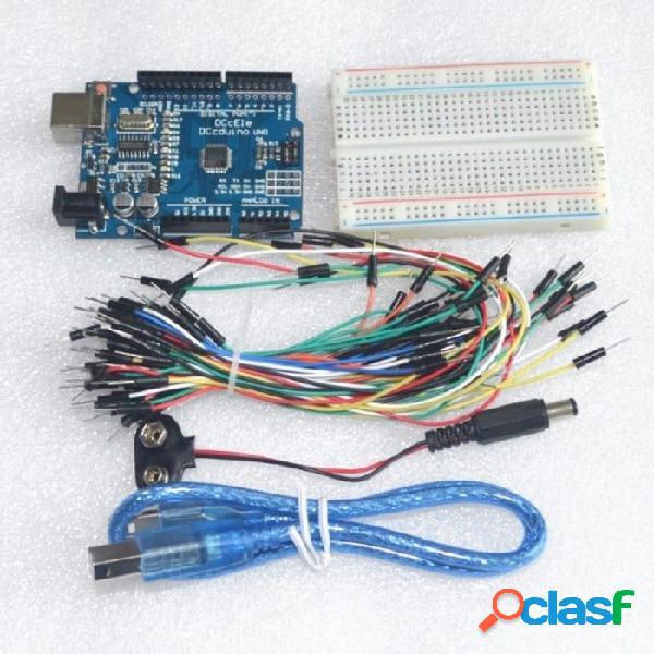 Kit de inicio diy set uno r3 cables de puente de tablero de pruebas cable usb y conector de batería 9v para arduino uno r3 colorido