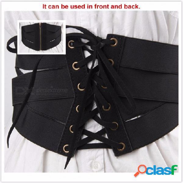 Moda super ancho cinturón para las mujeres con cordones elásticos de cuero de la pu cummerbund para la camisa de vestir abrigo decoración negro / un tamaño