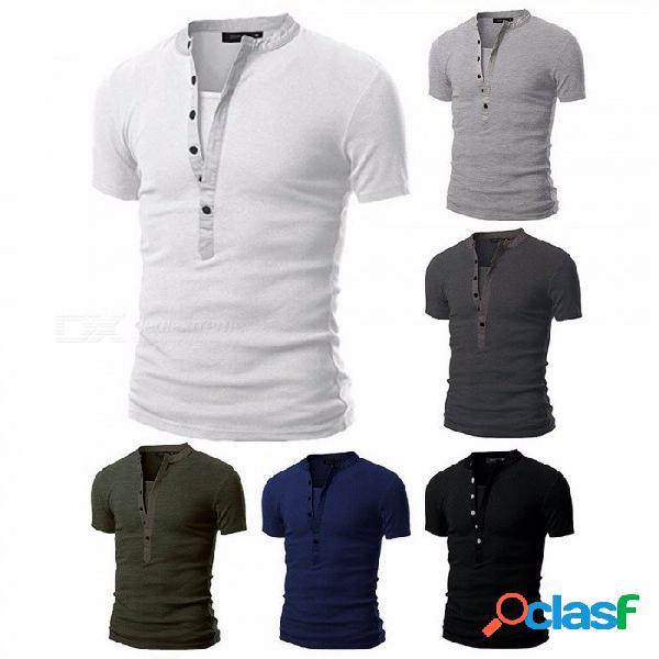 Moda transpirable delgado elástico empalme multi-botón cuello redondo manga corta camiseta de los hombres camiseta top negro / m