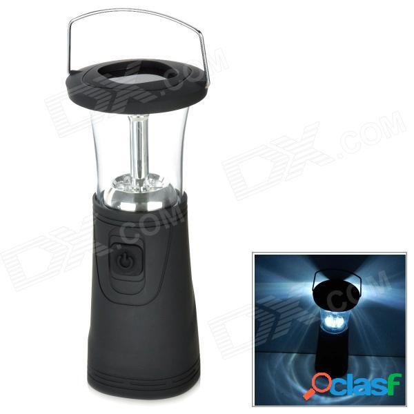 Funciona con energía solar / dynamo 60000mcd 6-led lámpara de camping luz blanca de 2 modos de mano - negro + plata