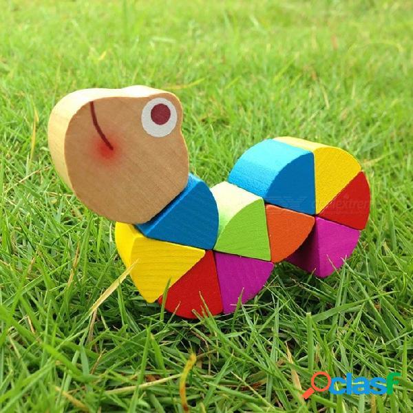 Juguete de madera del bebé, rompecabezas de las orugas del cocodrilo transformable lindo, juguete educativo de la inteligencia flexible del entrenamiento del dedo
