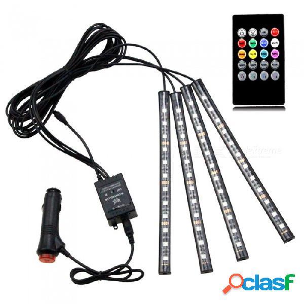 Luz led decorativa con ambiente de 4 piezas para control de sonido, ambiente, barra de tira de luz de ambiente colorido