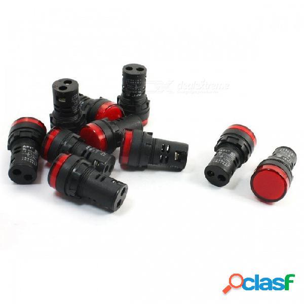 Rxdz 5pcs ac dc 24v 20ma 22mm montaje en panel de señal roja de plástico de cabeza redonda circuito electrónico de ahorro de energía lámpara piloto led