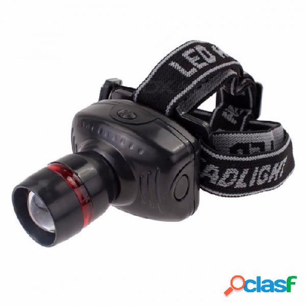 Skywolfeye cree q5 led aaa alimentado por batería linterna del faro, faro frontal de zoom duradero para la pesca de camping caza negro