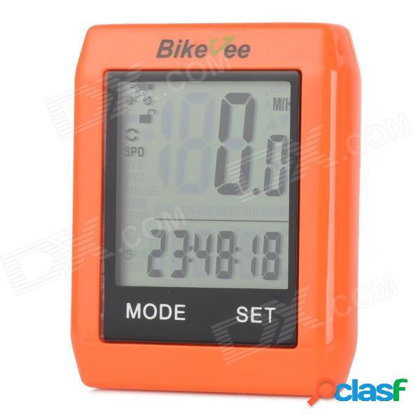"""Bikevee bkv-6000 computadora multifuncional inalámbrica de 1.7 """"lcd para bicicletas - naranja (1 x cr2032)"""