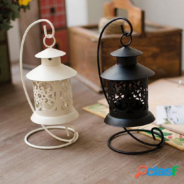Candelabro hueco de hierro de estilo europeo, adornos románticos para el hogar, regalo de cumpleaños decorativo (2 pcs)