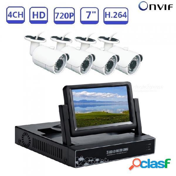 """Kit de vigilancia 4ch 7"""" p2p tecnología en la nube se dio cuenta de la vista remota por teléfono nvr 1.0 megapíxeles 720p cámaras de seguridad ip - enchufe reino unido"""