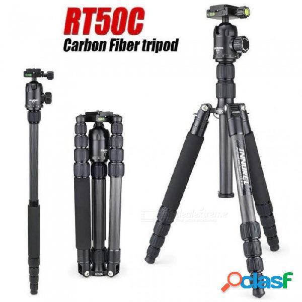 Monopod del trípode de la fibra de carbono rt50c para el soporte portátil ligero de la cámara de la cámara dslr tripa profesional compacta para el gopro rt50c