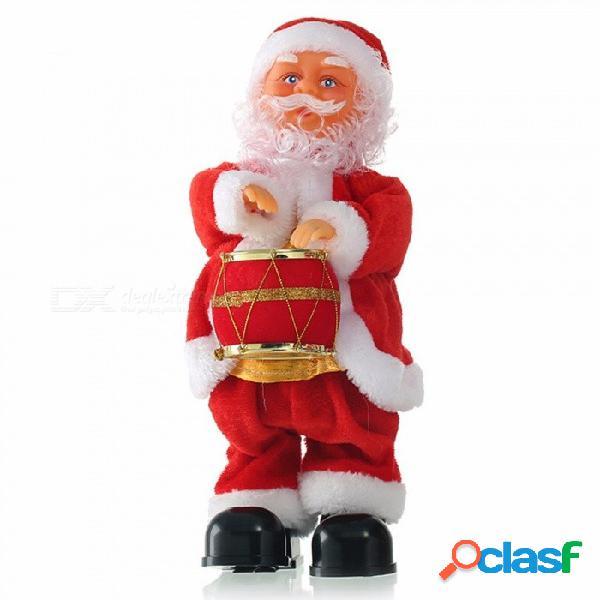 Navidad santa claus tocando el tambor juguetes música dinámica muñeca eléctrica juguetes decoraciones de navidad regalos rojo