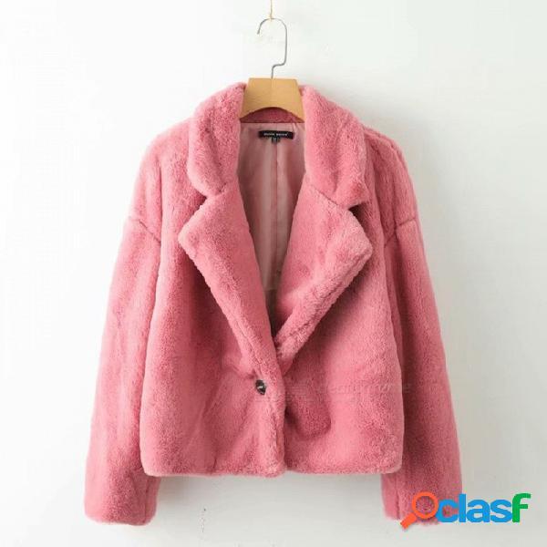 Otoño invierno mujer // 's abrigos de piel sintética cálido suave solo botón rosa traje chaquetas de cuello casual fuzzy prendas de vestir exteriores rosa / s