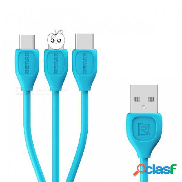 Remax 1 a 3 micro usb, cable de carga de datos de rayos de 8 pines usb tipo c para xiaomi, sony, samsung, htc, lg