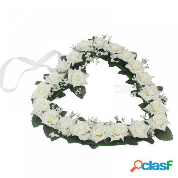 Rosa de seda hiedra vid flores artificiales que cuelgan camino de la boda guirnalda de flores corazón estilo festival suministros decoración blanco + rosa