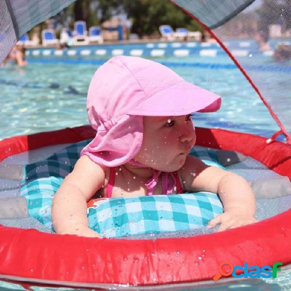 Sombrero de sol elegante para niños sombrero de playa transpirable de secado rápido para niños de ala ancha capucha capucha trasera amarilla