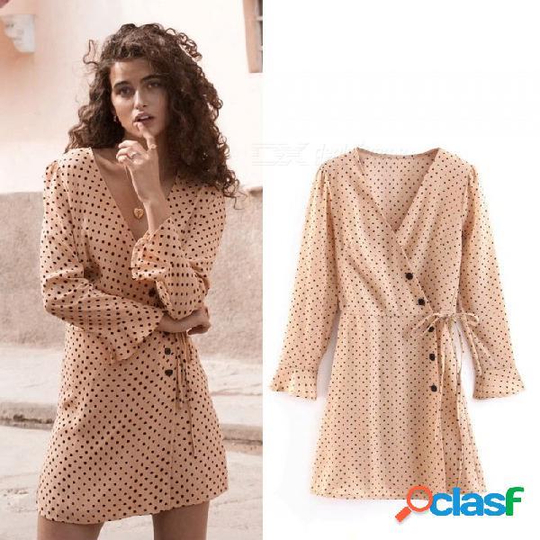 Vestido de lunares vintage de mujer de verano fajín profundo cuello en v cintura alta mini mitad elegante retro vestidos caqui / s