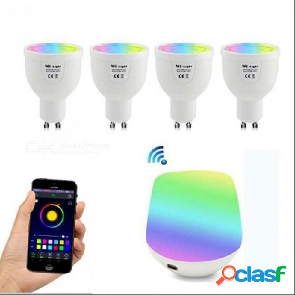 Gu10 5w rgbw lámpara 85-265v led milight bombilla rgb foco de luz + caja de control remoto inalámbrico wifi para iluminación de fiesta 1gu10 rgbww