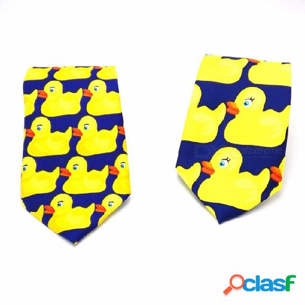 Novedad de dibujos animados pequeño pato amarillo empate corbata de los hombres de la novedad de la moda 8 cm de alta calidad corbata para el rendimiento del partido