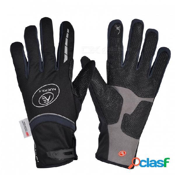 Nuckily pd07, unisex de invierno, dedo completo, ciclismo, guantes de pantalla táctil, guantes gruesos y resistentes al viento para deportes al aire libre