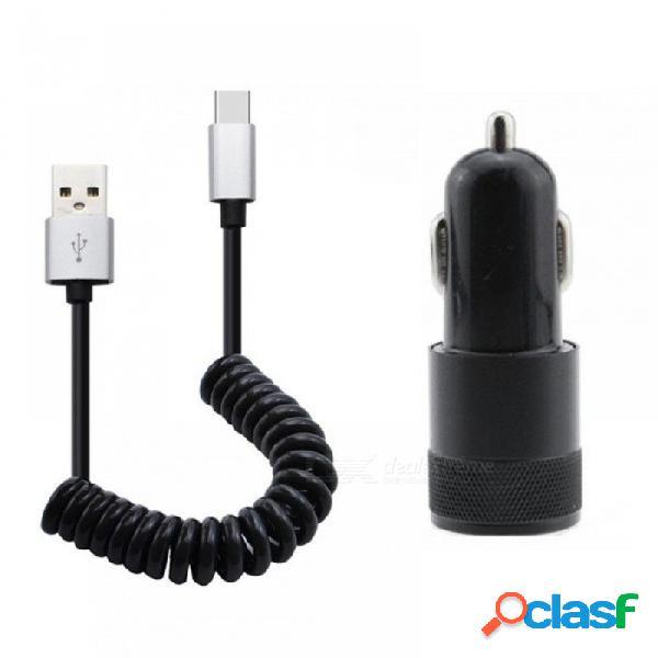 2 salida usb cargador de coche 3.1a carga rápida + 8pin cable usb de resorte extensible cable para iphone x 5 5s 6s 6 7 8 más cable cable 8pin