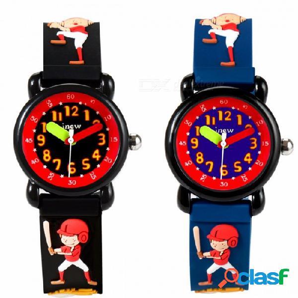 Dibujos animados en 3d béisbol niño goma banda reloj de cuarzo analógico niños pequeños estudiante relojes de pulsera para niños 30 m impermeable azul