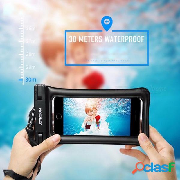 Joyroom cy168 bolsa de teléfono móvil a prueba de agua de 30 metros bolsa de 180x100 mm llena de aire para iphone, samsung blanco
