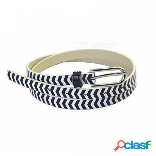 Moda a rayas de cuero de la pu cinturón de las mujeres, cinturilla de cintura delgada simple cinturon para los pantalones vaqueros vestido de decoración negro