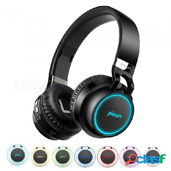 Sonido intone p60 auriculares bluetooth auriculares inalámbricos bajos 7 colores brillan con el micrófono compatible con tarjeta tf para teléfono xiaomi iphone pc negro