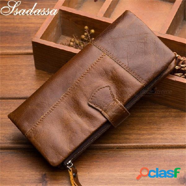 Ssadassa cuero genuino sólido multifunción hombres billetera casual estándar alta capacidad billeteras café