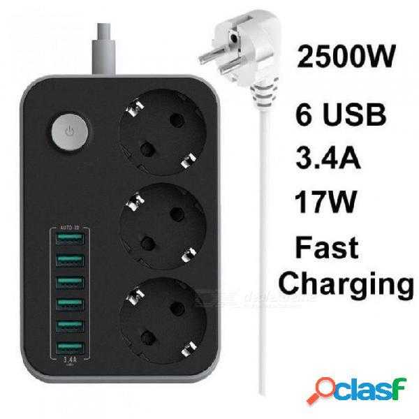Tira de alimentación usb inteligente de 3 gang eu con puertos de carga de 3.4 a toma de corriente múltiple powercube europa 1.6m cable de extensión con usb 1 pcs / eu xgg8636