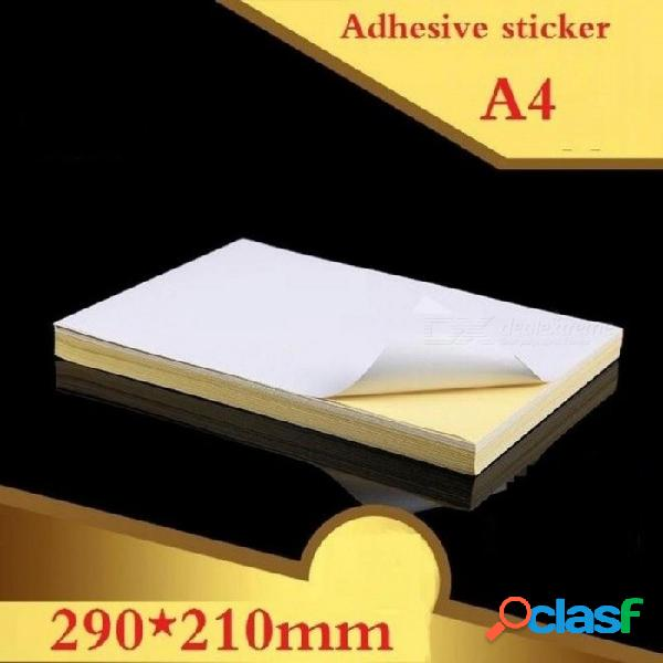 100 hojas / lote tamaño a4 blanco brillante blanco & papel adhesivo mate etiqueta papel de impresión a4 adhesivo adhesivo papel de impresión brillante