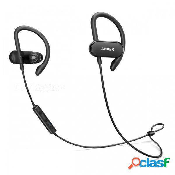 Anker soundbuds curva impermeable bluetooth v4.1 auricular de auriculares deportes inalámbrico, entrenamiento aptx auricular con bolsa de transporte negro