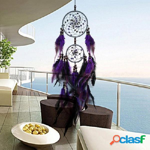 Artesanías de plumas púrpura atrapasueños campanas de viento hecho a mano atrapasueños neta con cuentas de plumas para colgar en la pared decoración del hogar coche púrpura