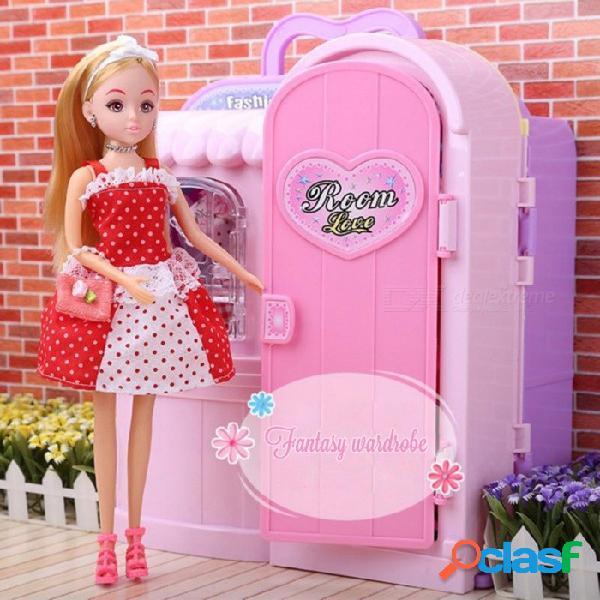 Barbie de lujo, caja de regalo, juguete plástico empacado, vestuario, muebles de casa de muñecas, armarios de juego de accesorios para niñas de color rosa