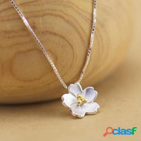 Forma delicada de plata 925 forma de margarita collares para mujeres joyería flor pequeña fiesta de cumpleaños regalo de plata de plata