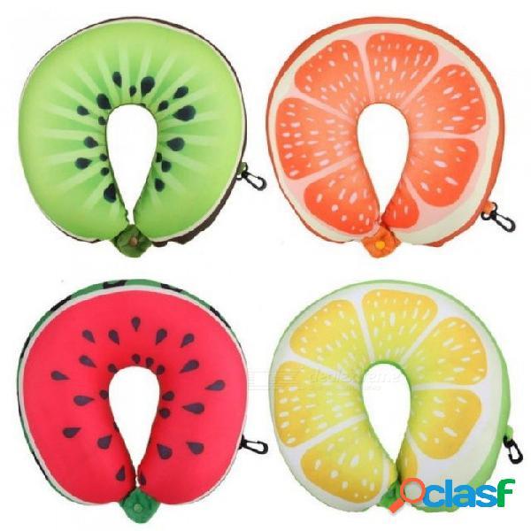 Fruta en forma de u almohada de viaje nanopartículas almohada cuello sandía limón kiwi naranja coche almohadas cojín suave textiles para el hogar kiwi