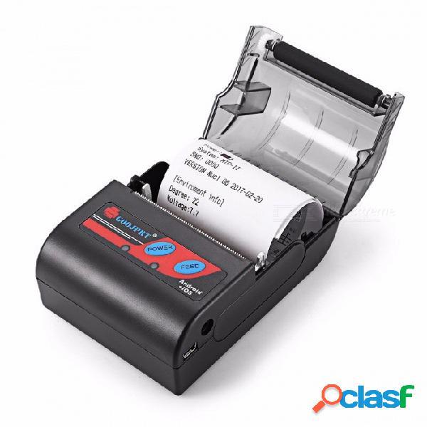 Impresora térmica bluetooth portátil goojprt mtp-ii 58mm, máquina de recibos inalámbrica portátil con bolsa para windows ios android